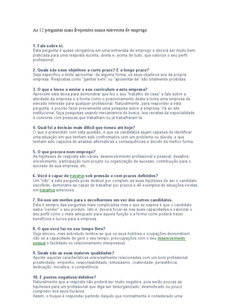 7 respostas para responder em uma entrevista de emprego